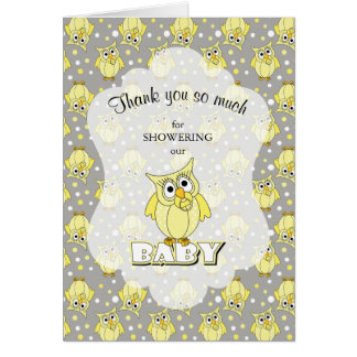 Yellow and Gray Polka Dot Owl Baby Shower Theme Card