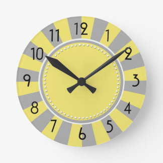 Yellow and Gray Starburst Stripes Clock