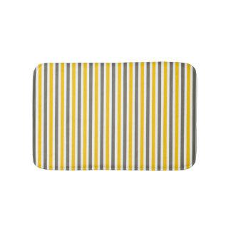 Yellow and gray striped pattern modern bath mat