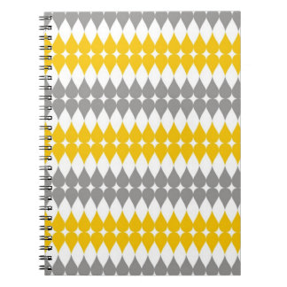 Yellow And Gray Tear Drop Pattern Spiral Notebook