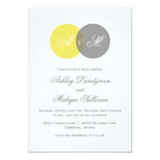 Yellow and Gray Twin Monograms Wedding Invitation