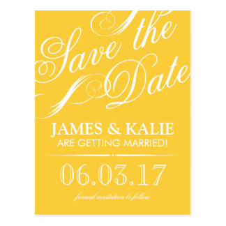 Yellow and Gray Vintage Script Save the Date Postcard