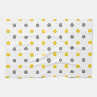Yellow and Gray Watercolor Polka Dots Kitchen Towel