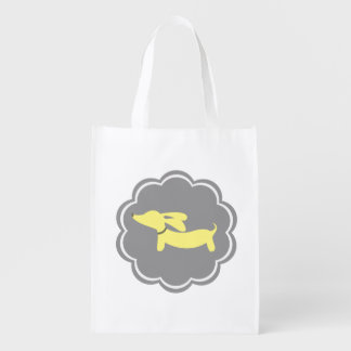 Yellow and Gray Wiener Dog Grocery Tote Bag Market Tote