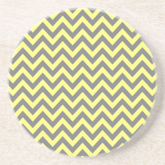 Yellow and Gray Zigzag Coaster