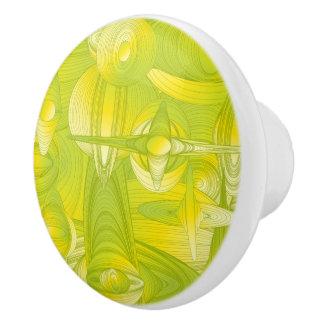 Yellow and Green Art Deco Ceramic Knob