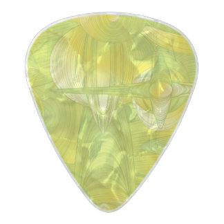 Yellow and Green Art Deco Pearl Celluloid Guitar Pick