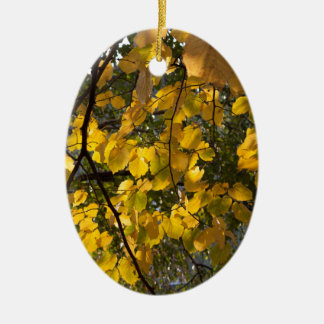 Yellow and green autumn leaves ceramic oval ornament