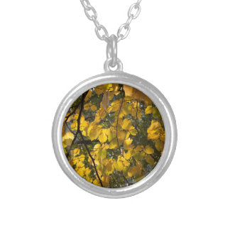 Yellow and green autumn leaves silver plated necklace