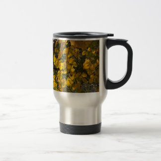 Yellow and green autumn leaves travel mug