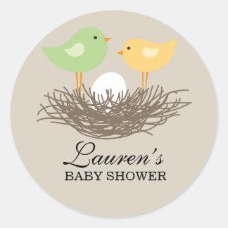Yellow and Green Baby Bird's Nest | Baby Shower Classic Round Sticker
