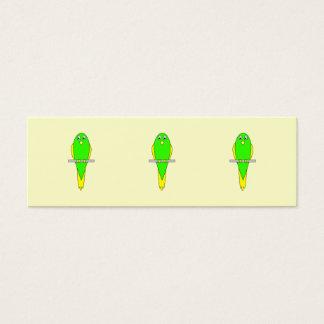 Yellow and Green Bird. Parakeet Mini Business Card