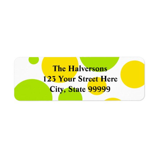 Yellow and Green Bubble Polkadots Address Labels