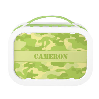 Yellow and Green Camouflage (Camo) | Personalized Lunch Box
