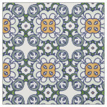 Yellow and Green Floral Damask Pattern Fabric