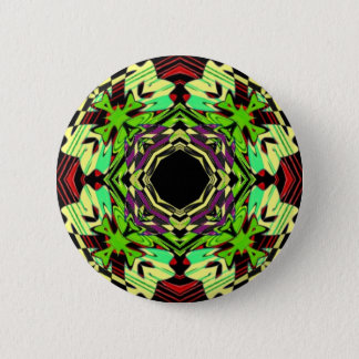 Yellow and Green geometric pattern 2 Inch Round Button