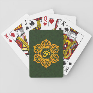 Yellow and Green Lotus Flower Om Deck Of Cards