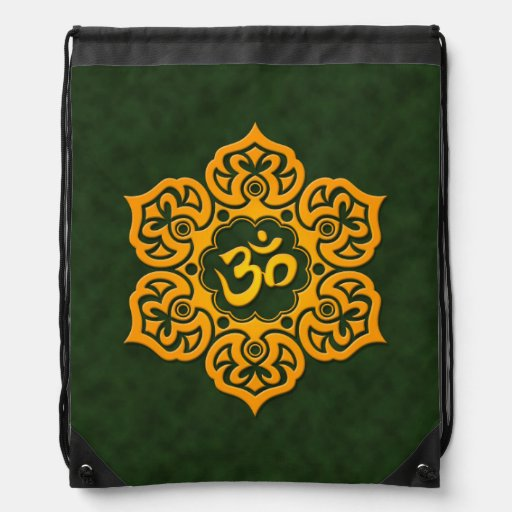 Yellow and Green Lotus Flower Om Backpack