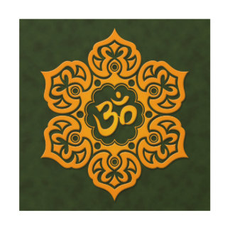 Yellow and Green Lotus Flower Om Wood Prints