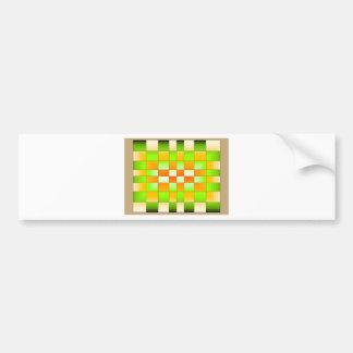 Yellow and Green Optical Illusion Chess Board Bumper Sticker