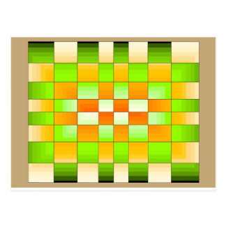 Yellow and Green Optical Illusion Chess Board Postcard