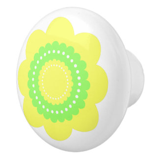 Yellow and Green Polka Dot Flower Ceramic Knob