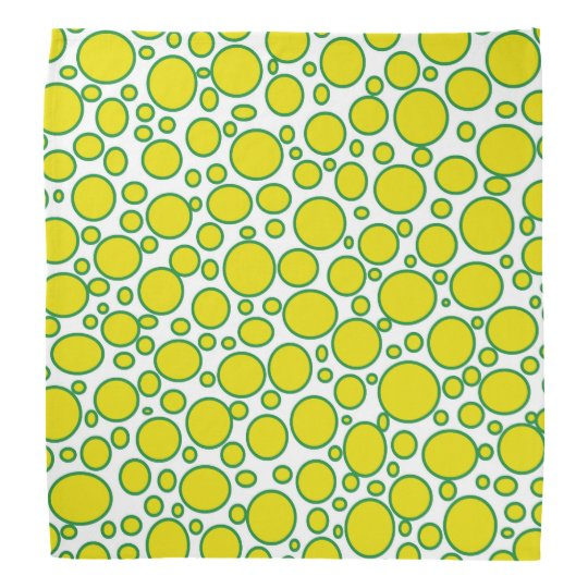 Yellow and Green Polka Dots Bandana
