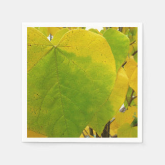Yellow and Green Redbud Leaves Autumn Nature Paper Napkin