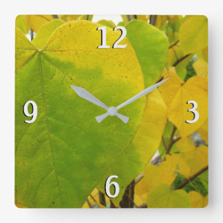 Yellow and Green Redbud Leaves Autumn Nature Square Wall Clock
