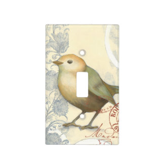 Yellow and Green Sparrow on Vintage Background Light Switch Cover
