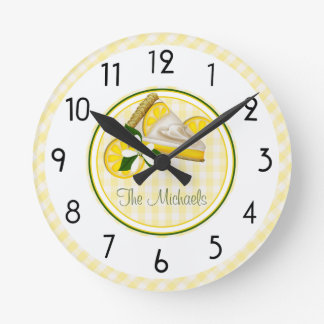 Yellow and Green Stripes and Checks Round Clock