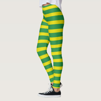 Yellow and Green Stripes Leggings