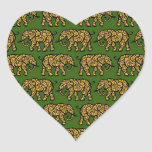 Yellow and Green Swirling Elephant Pattern Sticker