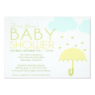 Yellow and Green Umbrella Baby Shower Invitation