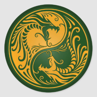 Yellow and Green Yin Yang Dragons Round Sticker