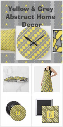 Yellow and Grey Abstract Home Decor