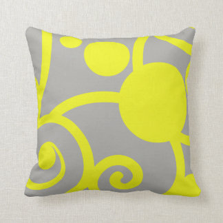 yellow and grey abstract pattern pillow
