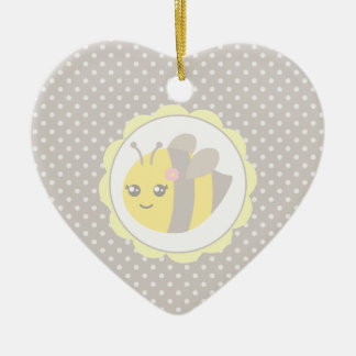 Yellow and Grey Baby Bee Ceramic Heart Ornament