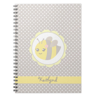 Yellow and Grey Baby Bee Spiral Note Books