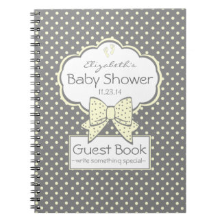 Yellow and Grey-Baby Shower Guest Book- Spiral Notebooks
