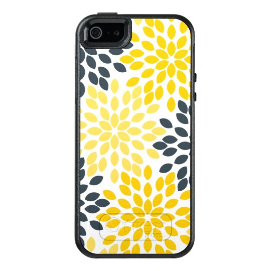 Yellow and Grey Charcoal Modern Floral OtterBox iPhone 5/5s/SE Case