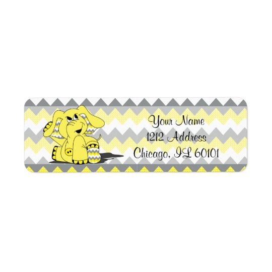 Yellow and Grey Chevron Elephant  | Shower Theme