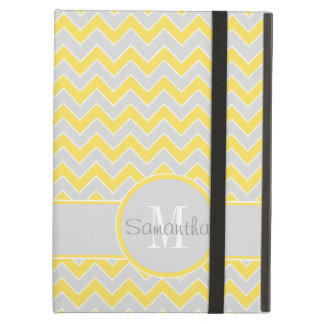 Yellow and Grey Chevron Pattern Custom Monogram iPad Air Case