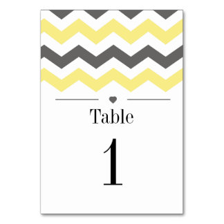 Yellow And Grey Chevron Pattern Table Numbers Table Card