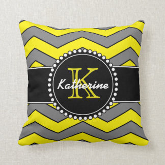 Yellow and Grey Chevron, Personalized, Monogrammed Throw Pillow