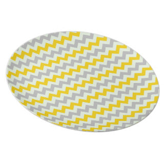 Yellow and Grey Chevron Plates