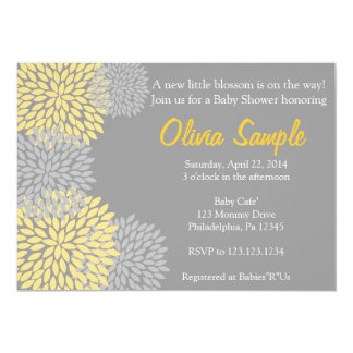 Yellow and Grey Dahlia Baby Shower Invitation