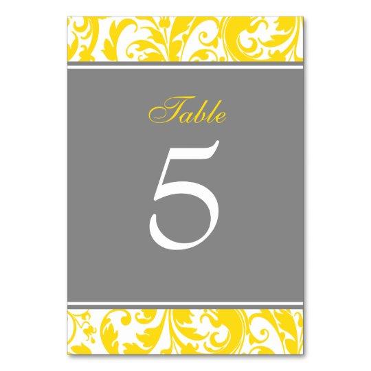 Yellow and Grey Damask Swirls Wedding Card