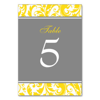 Yellow and Grey Damask Swirls Wedding Table Card