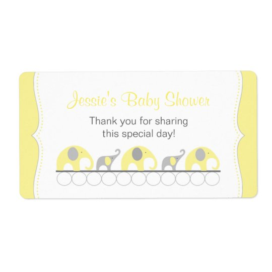 Yellow and Grey Elephants Water Bottle Favour Shipping Label
